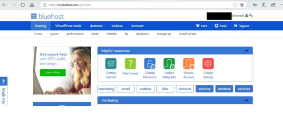 Bluehost account